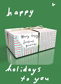 happy holidays to you cute greeting card with 3d image of a wrapped Christmas present on the front by Ashley Rice