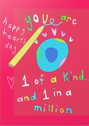 you are one of a kind and one in a million happy hearts day cute valentine by Ashley Rice with illustration of a giant pencil and a world with hearts around it