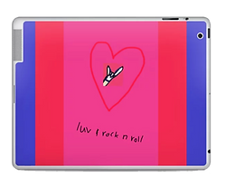 Love and rock nd roll colorblock laptop sleeve with hot pink and red and blue by Ashley Rice