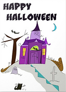 happy halloween haunted house greeting card by Ashley Rice