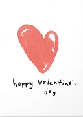 happy valentines day written in cute handwriting with large red heart drawing on greeting card by Ashley Rice