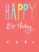 cute red birthday card with happy birthday written in colorful bubble letters on the front greeting card by Ashley Rice