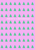 pink christmas greeting card with cute deccorated fir trees on  bright pink background holiday greeting card by Ashley Rice