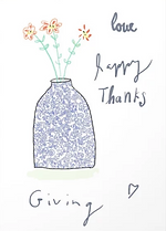 love happy thanks cute thanksgiving greeting card with line art of chinoiserie vase and flowers by Ashley Rice