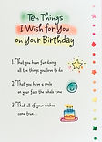 Ten things I wish for you on your birthday birthday poem on a greeting card by Ashley Rice