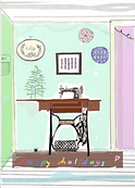 singer sewing machine drawing happy holidays greeting card by Ashley Rice