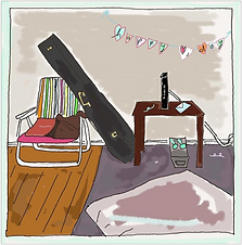 guitar and beach chair valentine art print by Ashley Rice