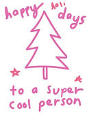 happy holidays to a super cool person pink and white christmas tree greeting card by Ashley Rice