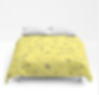 doodle fun times yellow and navy graffiti style comforter by Ashley Rice