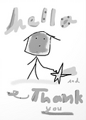 hello and thank you cute greeting card by Ashley Rice