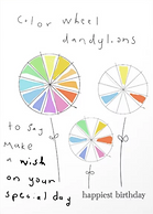 color wheel dandelions birthday card by Ashley Rice
