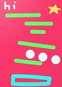 whimsical and geometric greetin card to say hi by Ashley Rice