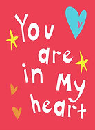 you are in my heart cute red card with white bubble letters in sans serif midcuntury modern style and cute hearts and stars love greeting card by Ashley Rice