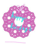 pink wreath with blue lettering that says happy holidays cute winter greeting card by Ashley Rice