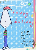 cute girl character with santa hat on holiday greeting card for tweens and teens by Ashley Rice that says happy holidays I hope you have the greatest christmas with a repeating snowflake background