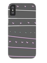 gray and pink phone case with lines and hearts by Ashley Rice