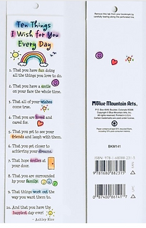 Ten things I wish fr you every day bookmark by Ashley Rice published by blue mountain arts