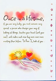 Once in a lifetime romantic love poem on a greeting card by Ashley Rice published by Blue Mountain Arts