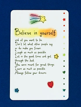 believe in yourself and all you want to be wallet card by Ashley Rice published by blue mountain arts