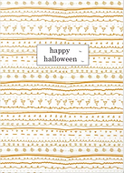 happy halloween orange doodle pattern greeting card by Ashley Rice