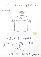 toilet paper angel greeting card by Ashley Rice