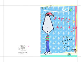happy holidays I hope you have the greatest Christmas cute digital printable instant download greeting card of a girl with santa hat and snowflake background for tweens and teens by Ashley Rice