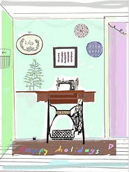 singer sewing machine house scene happy holidays art print by Ashley Rice