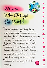 A poem called Women Who Change the World on a greeting card by Ashley Rice