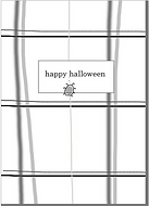 spiderweb plaid cute gray and white and black plaid greeting card with a spider climbing up it happy halloween by Ashley Rice