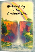 beginning today on your graduation greeting card by Ashley Rice Blue Mountain Arts with watercolor waterfall and rainbow background
