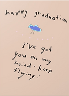 happy graduation keep flying cute printable graduation card digital download with drawing of a bird on it by Ashley Rice
