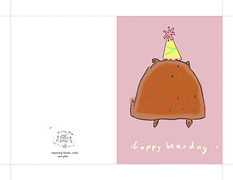 happy bearday bear with a birthday hat cute digital instant download printable greeting card by Ashley Rice
