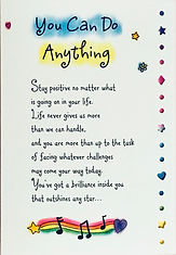 A poem called you can do anything on a greeting card by Ashley Rice published by Blue Mountain Arts