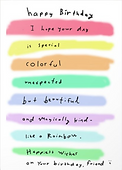 happy birthday I hope your day is special colorful unexpected but beautiful and magically kind like a rainbow happy birthday friend watercolor rainbow stripes birthday card by Ashley Rice