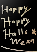 happy happy halloween gold letters on black background greeting card by Ashley Rice