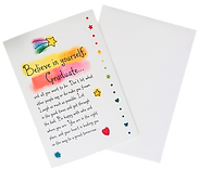 A graduation poem called believe in yourself on a greeting card by Ashley Rice