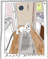 happy palentines dog in the kitchen digital painting art print by Ashley Rice