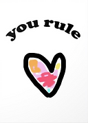 you rule cute tween greeting card with heart and flower design by Ashley Rice