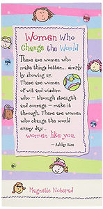 A poem called Women Who Change the World on a cute notepad written and illustrated by Ashley Rice