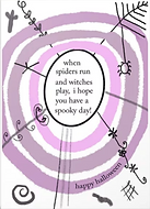 when spiders run and witches play i hope you have a spooky day cute halloween greeting card by Ashley Rice