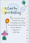 Greeting card with a bird holding a balloon with a star on it and a cute birthday poem by Ashley Rice