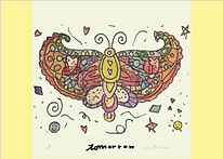 watercololor butterfly with the word tomorrow written under it greeting card by Ashley Rice