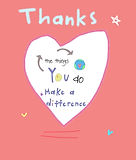 thanks the things you do make a difference cute thank you greeting card by Ashley Rice with giant heart and stars on the front