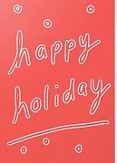 cute happy holiday greeting card with white bubble letters on red bakcground and snow by Ashley Rice