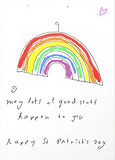 st patricks day whimsical rainbow greeting card by Ashley Rice