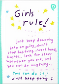 girls rule you can do it just keep going inspiring greeting card by Ashley Rice