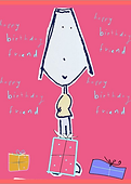 happy birthday friend cute greeting card with girl cartoon character by Ashley Rice