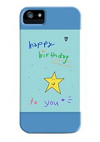 happy birthday to you phone case with blue colorblock by Ashley Rice