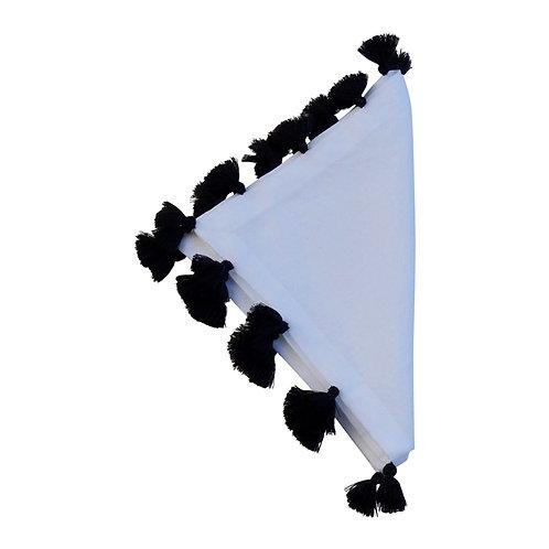 Linen Napkin Berber, Black On White