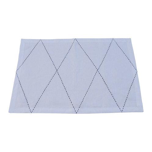 Linen Table Set Croix, Black On White